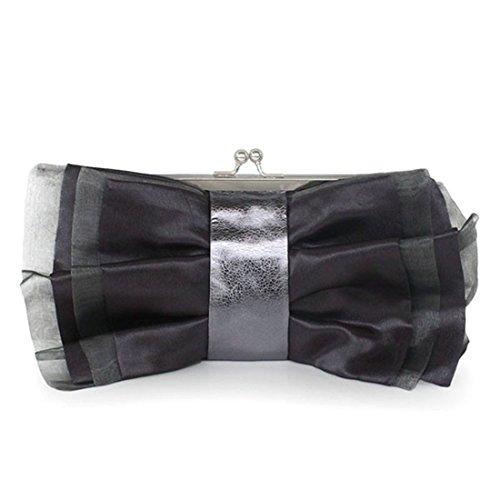 Bow Chiffon Bag Handbag Fashion tie Coffee Handbag Ladies Banquet Gray wEqX4ffa