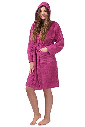 con donna cappuccio spugna sauna al 100 da in SLOUCHER cotone Accappatoio accappatoio da Grigio nw0zIn8x6