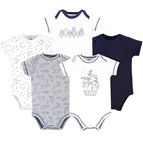 Touched by Nature Unisex Baby Boys Organic Cotton Bodysuits, Constellation Short Sleeve 5 Pack, 12-18 Months (18M)