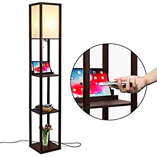 Brightech Maxwell Shelf Floor Lamp w. Wireless Charging Station, USB Port & Outlet - Column Lighting For Bedrooms, Offices & Living Rooms - Contemporary Skinny Nightstand & Tower Light - Brown
