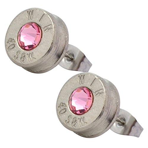 Little Black Gun Nickel Plated 40 S&W Bullet - Pink Bullet Shell Earrings