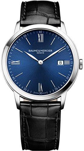Baume et Mercier Classima Blue Dial Mens Leather Watch MOA10324