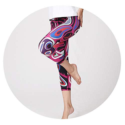 Lace Printed Yoga Pants High Waist Fitness Sport Leggings Women 3/4Sports Tights Gym Tourses,HK183,L
