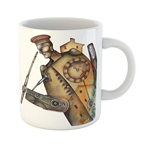 Emvency Funny Coffee Mug Adult Portrait of Steampunk Man Costume Culture 11 Oz Ceramic Coffee Mug Tea Cup Best Gift Or Souvenir -
