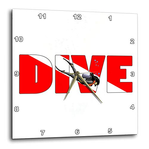 3dRose Macdonald Creative Studios – Scuba - Female Scuba Diver with Dive in The red and White Dive Flag Colors. - 13x13 Wall Clock (DPP_299202_2) -
