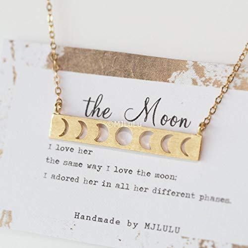 - Minimal 14k Gold Fill Moon Phases Bar Necklace