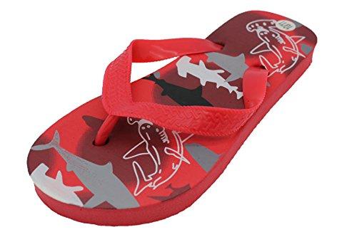 Sandrocks Kinder, Mädchen, Jungen Sommer Shark Print Flip Flops Rot