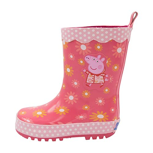Peppa Pig Kids Rain Boots, Girls Rubber Sole Galoshes for Kids Pink