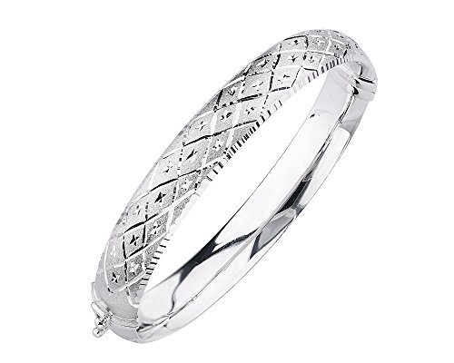 Cut Hinged Bangle Bracelet (G&H Sterling Silver Hinged Bangle Bracelet with Diamond Cut Deco)