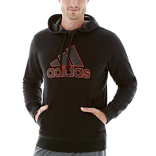 New Adidas Men's Essentials Heavyweight Logo Hoodie Black/Onix/Bold Orange (Adidas Heavyweight Sweatshirt)
