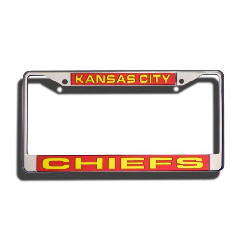 Rico Industries NFL Kansas City Chiefs Laser Cut Inlaid Standard Chrome License Plate Frame