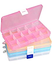 Clear Jewelry Box, 4 Pcs Plastic Adjustable Dividers Bead Earring Storage Organizer(Multi Colors)