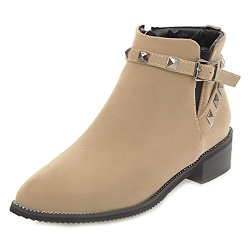 Pointu Chunky Femme Bottines Classique Low Bout Boots Easemax Abricot OxIYqwzz