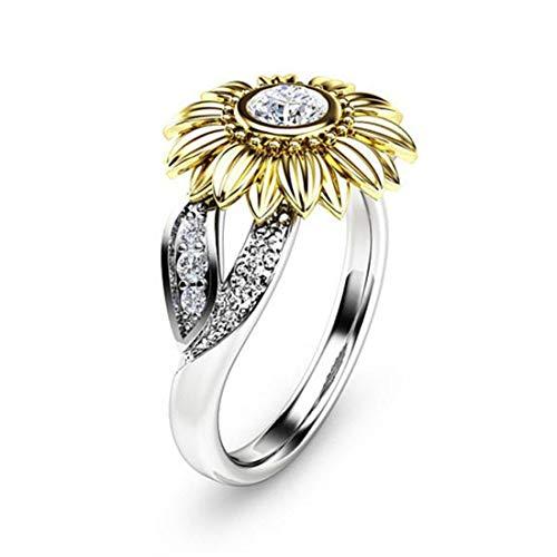 DALARAN Women Cubic Zirconia Rings Sunflower Solitaire Rings Size 6 Wedding Engagement Band Women Jewelry