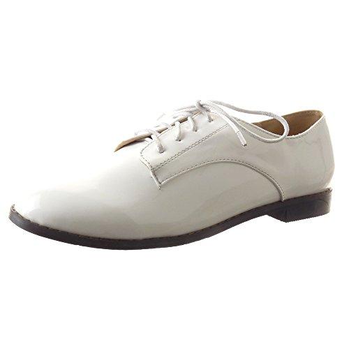 Sopily - Scarpe da Moda scarpa derby Mocassini alla caviglia donna Finitura cuciture impunture Tacco a blocco 1.5 CM - Bianco