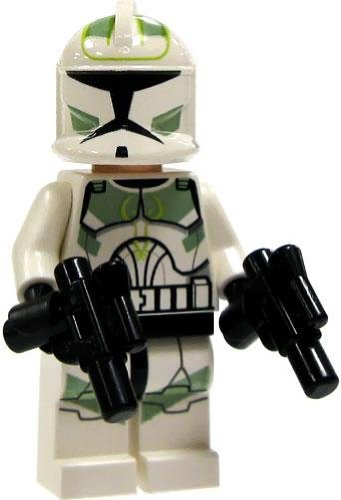 LEGO Star Wars LOOSE Mini Figure EPII Clone Wars 41st Elite Corps. Green Clone Trooper with Twin Blaster Pistols