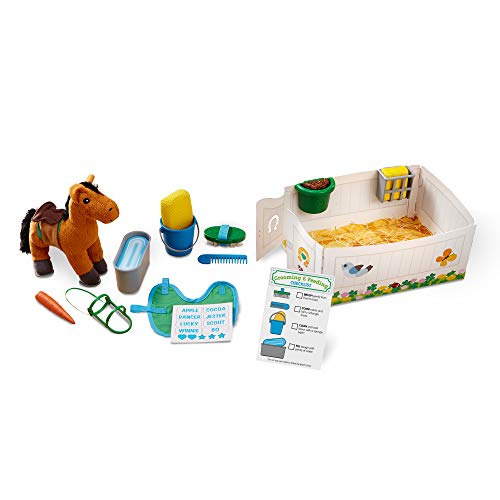 Melissa & Doug Feed & Groom Horse Care Play Set with Plush Stuffed Animal (23 Pieces, Great Gift for Girls and Boys - Best for 3, 4, 5, 6, and 7 Year Olds)