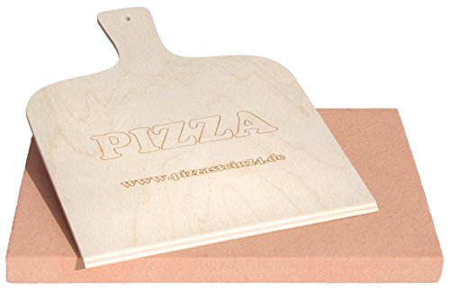 PIZZASTEIN / BROTBACKSTEIN Set, Schamottestein 40x30x3cm mit Pizzaschaufel