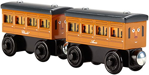 Fisher-Price Thomas & Friends Wooden Railway, Light-Up Reveal Annie & Clarabel - Battery Operated