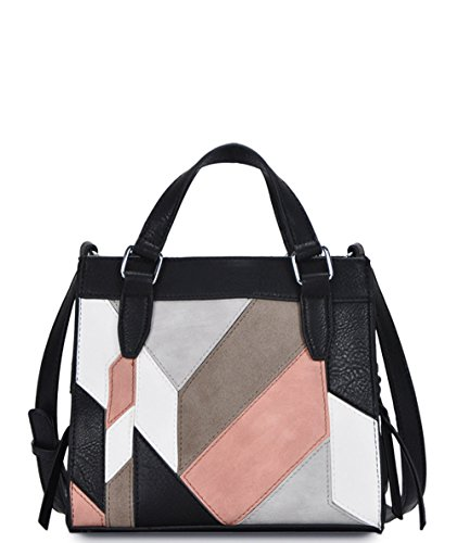 Madison West Leather Suede Color Block Mini Tote Crossbody- Black Naturals ()