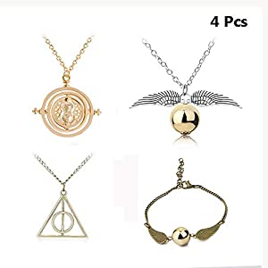 leecco 4-Pieces Inspired DIY Necklace and Bracelets Set for Harry and Potter,Time-Turner Deathly Hallows Golden Snitch Necklace and Link Bracelets for Harry Potter Fans Hogwarts Gifts or Decorations