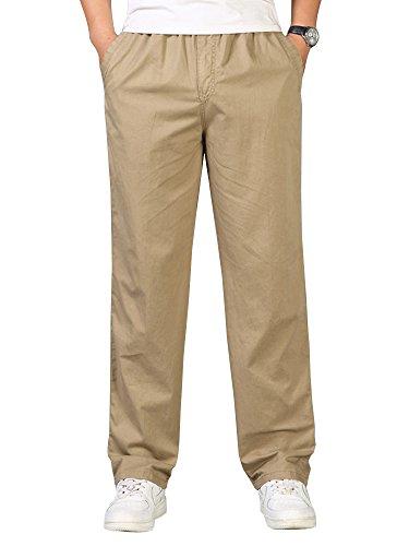 OCHENTA Men's Full Elastic Waist Lightweight Workwear Pull On Cargo Pants