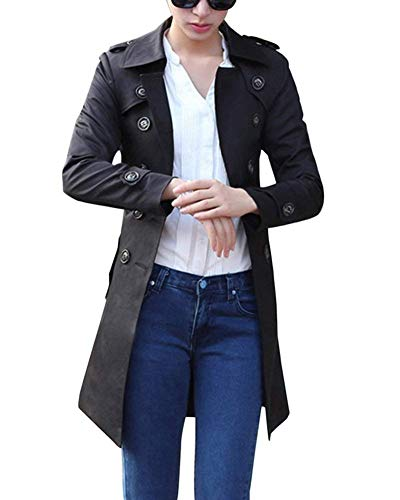 Classiche Primaverile Trench Giacca Bavero Double Schwarz Fit Giaccone Donna Eleganti Lunga Outerwear Slim Cintura Fashion Inclusa Breasted Vintage Autunno Manica Cappotto 4r7Frt
