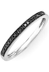 0.10 Carat (ctw) Sterling Silver Round Black Diamond Wedding Anniversary Milgrain Stackable Band