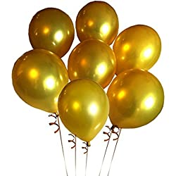 Elecrainbow 100 Pack 12 Inch 3.2 g/pc Thicken Round Metallic Pearlescent Latex Balloons - Shining Gold Balloons - Party Supplies and Decorations