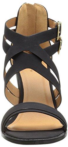 Qupid Women's Chunky Heeled Sandal Black Nubuck Polyurethane u5AziZIm