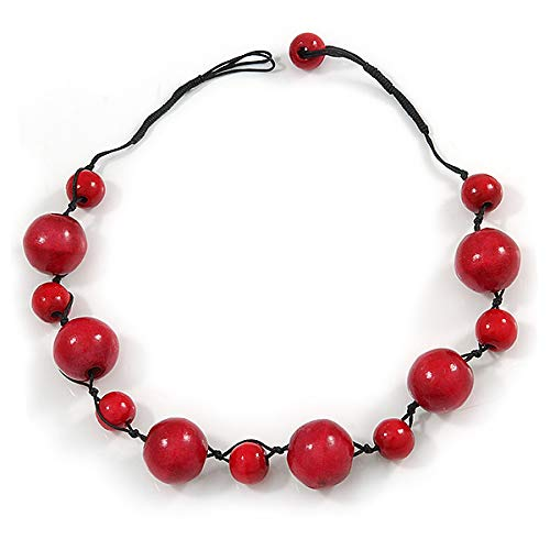 52cm Long Avalaya Red Wood Bead Black Cotton Cord Necklace
