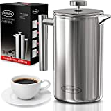 SterlingPro French Press Coffee Maker (1L)-Double Walled Large Coffee Press with 2 Free Filters-Enjoy Granule-Free Coffee Guaranteed, Stylish Rust Free Kitchen Accessory-Stainless Steel French Press