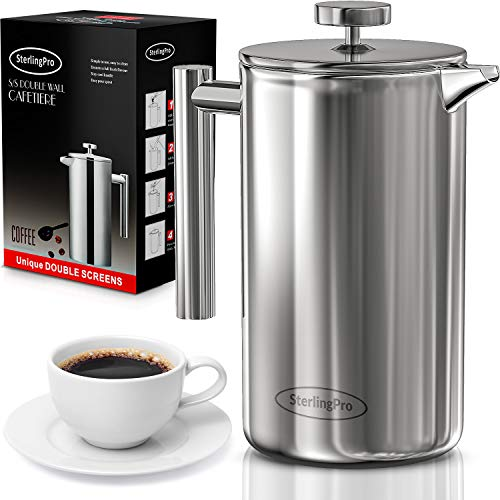 SterlingPro French Press Coffee Maker (1L)-Double Walled Large Coffee Press with 2 Free Filters-Enjoy Granule-Free…