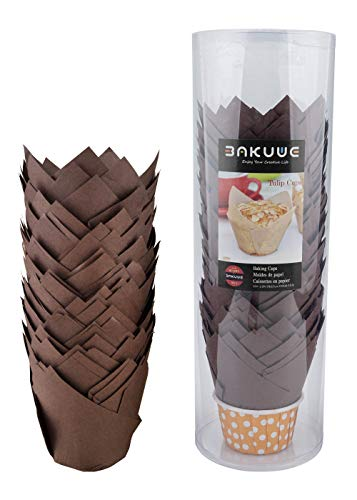 Bakuwe Standard Tulip Muffin Cupcake Liners Paper Baking Cups,100-Count (Brown)