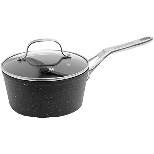 THE ROCK 2QT SAUCEPAN, The Rock Saucepan with Glass Lid (2-Quart), Extra-thick forged aluminum base, Optimal heat distribution & even cooking, Guaranteed never to warp, Durable rock-like finish las...