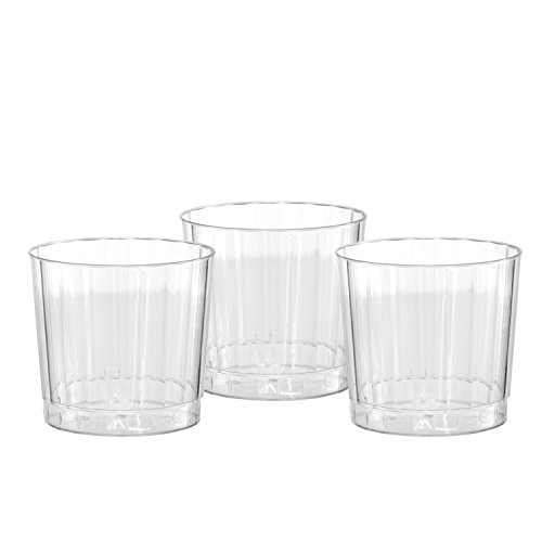 Cocktail Barware - Party Essentials Deluxe/Elegance Hard Plastic 9-Ounce Party Cups/Old Fashioned Tumblers, 20-Count, Clear