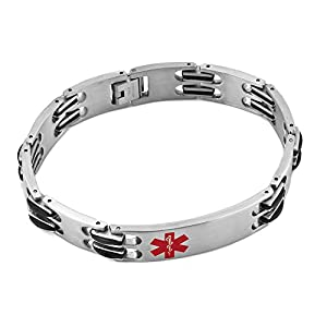 Heart of Charms Surgical Stainless Steel Medical Alert ID Bracelets Identification Logo Tag Emergency Bangle Cuff Bracelet