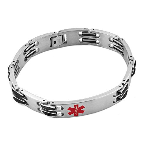 Heart of Charms Surgical Stainless Steel Medical Alert ID Bracelets Tag Emergency Bangle Cuff Bracelet (Heart Alert Tag)