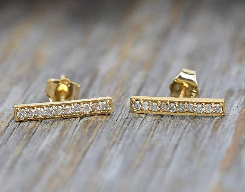 Genuine Geometric Diamond Bar Line 14k Yellow Gold Stud Staple Earring- Wedding Jewelry