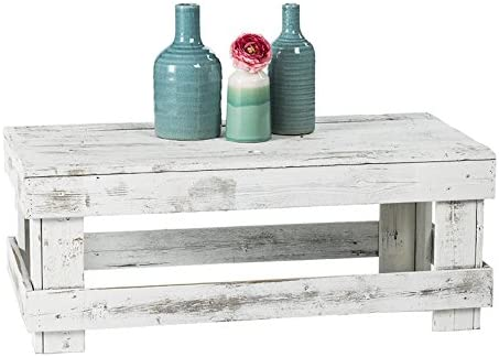 Del Hutson Designs – Rustic Barnwood Coffee Table, USA Handmade Reclaimed Wood White