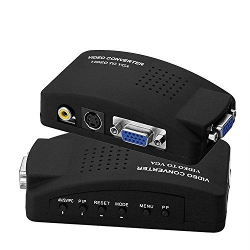 SIENOC PC Laptop AV S-video Video to VGA TV Converter Switch Box Color Black
