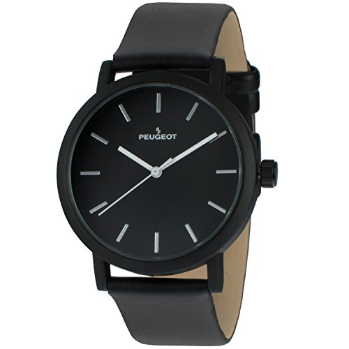 Peugeot Unisex Sleek Matte Black Plated Watch with Tan Leather Srap