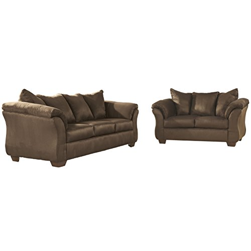 Flash Furniture Signature Design by Ashley Darcy Living Room Set in Cafe Microfiber (Sets Furniture Ashley Couch)