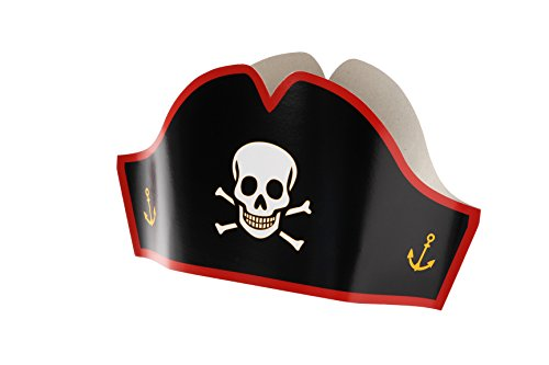 Sea Monkeys Pirate (24 Pirate Hats - Cardboard Party Hats - Adjustable Sizes For Kids & Adults - Halloween Pretend Play Party)
