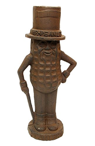 Mr. Peanut Man Cast Iron Bank Large Rust