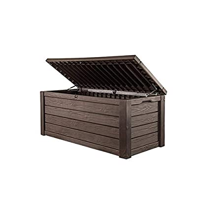 Pool Deck Storage Box and Bench is 2 in 1 Multifunctional Patio Seat Resin UV Protected 150-Gallon Pool and Yard Container for Cushions Table Covers Candles Beach Toys, Espresso