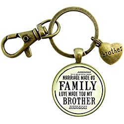 Brother In Law Step Keychain Marriage Made Us Family Love Made You My Brother Rustic Bronze Wedding Favor Gift