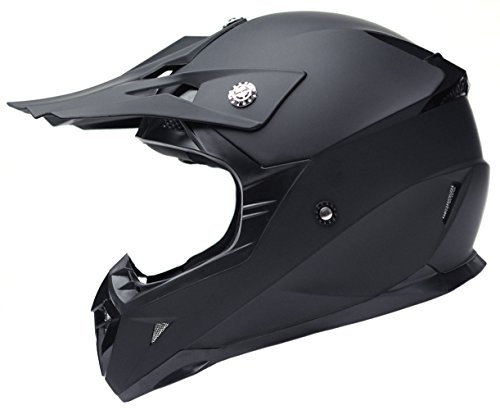 (Motorcycle Motocross ATV Helmet DOT Approved - YEMA YM-915 Motorbike Moped Full Face Off Road Crash Cross Downhill DH Four Wheeler MX Quad Dirt Bike Helmet for Adult Men Women - Matte Black,Large)