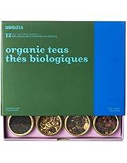 DAVIDsTEA Organic Tea Sampler, Loose Leaf Tea Gift Set, Perfect Host Gift, 12 Organic Teas, 107 Grams / 3.8 Ounces