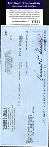 VIN SCULLY PSA DNA COA Autographed 1987 CHEQUE Hand Signed Authentic